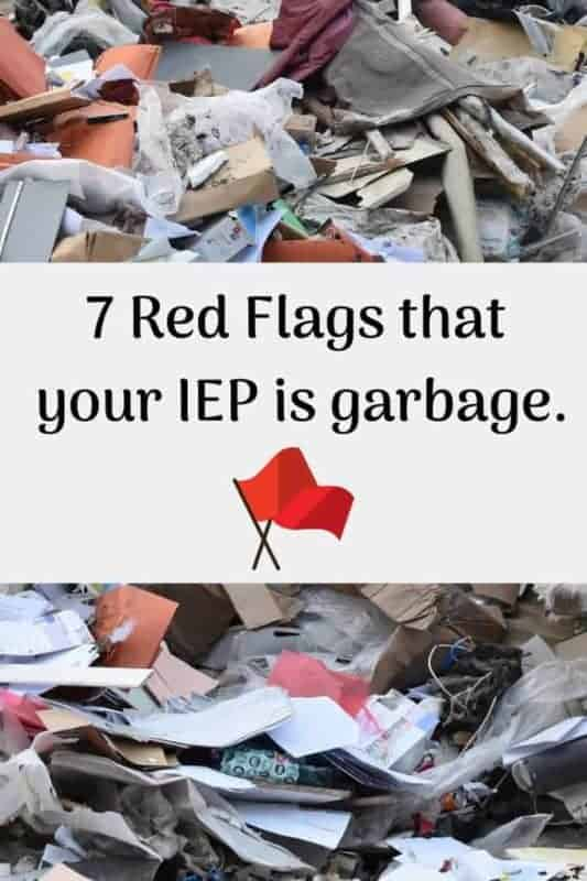 garbage showing red flag your IEP is trash