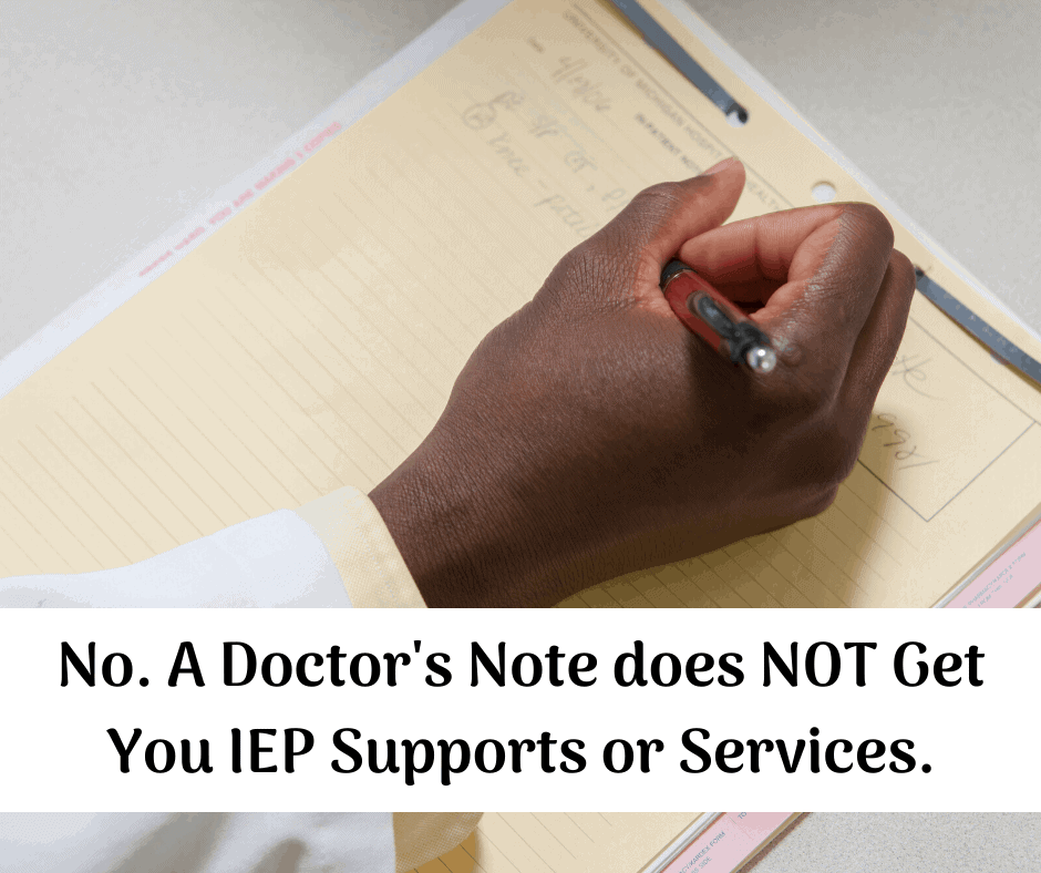 a doctor writing a note asking for services on an IEP