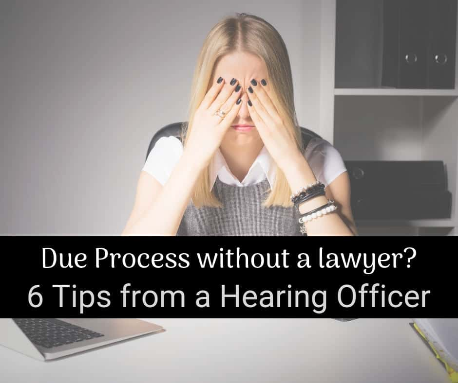due process without a lawyer tips from hearing officer woman at desk with hands on head