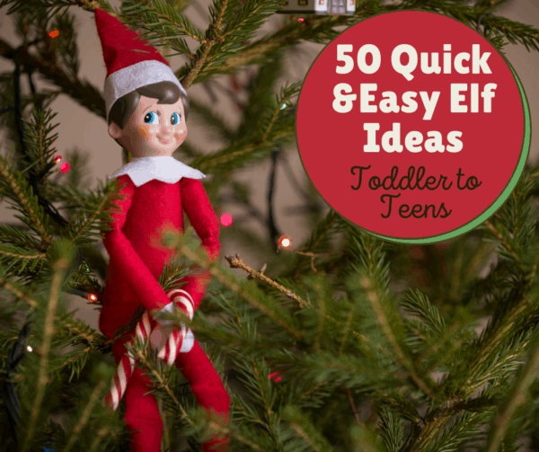 elf sitting in a christmas tree holding a candy cane