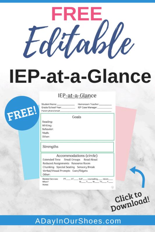 IEP at a Glance Template | Free | Printable | Editable