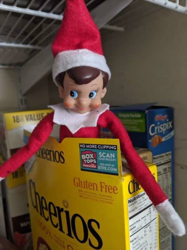 elf on the shelf in a cheerios box