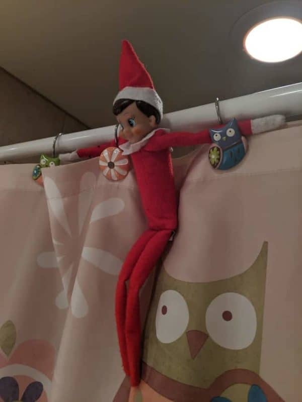 elf on the shower curtain