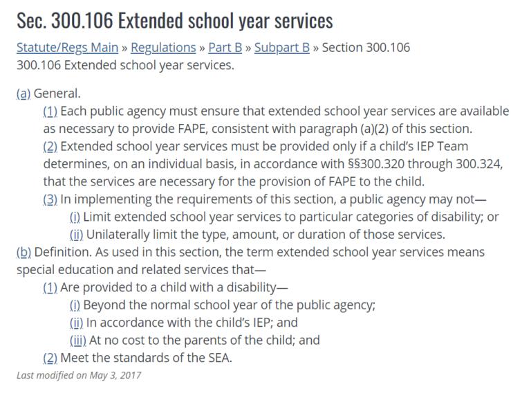 ESY | Extended School Year | ESY Eligibility Criteria | ESY Services