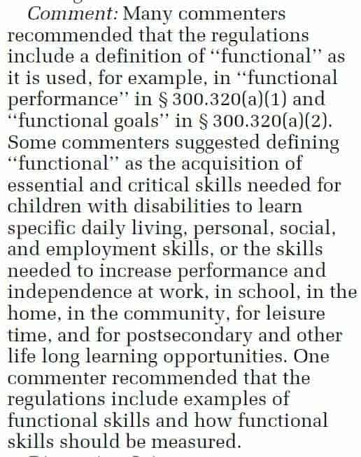 snippet from IDEA federal register further explaining functional present levels