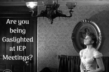 are you being gaslighted at IEP meetings woman in a dark grey room looking worried