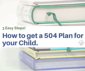 get a 504 plan for your child stack of books