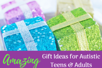 gift ideas autistic teenagers sparkly green blue purple gift boxes with bows
