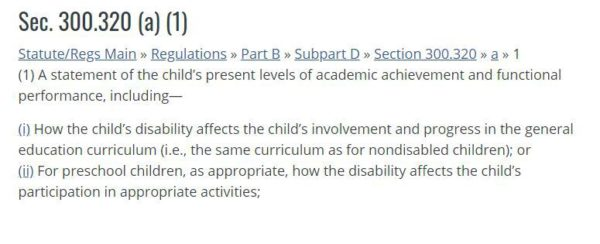 section of IDEA describing the present levels section of the iep