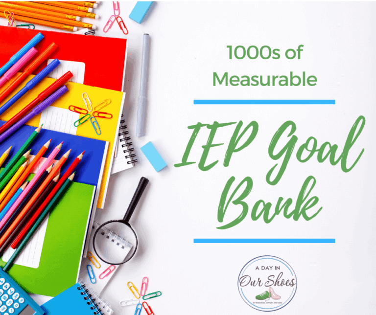 IEP Goal Bank | List of Measurable IEP Goals and Objectives | Printable