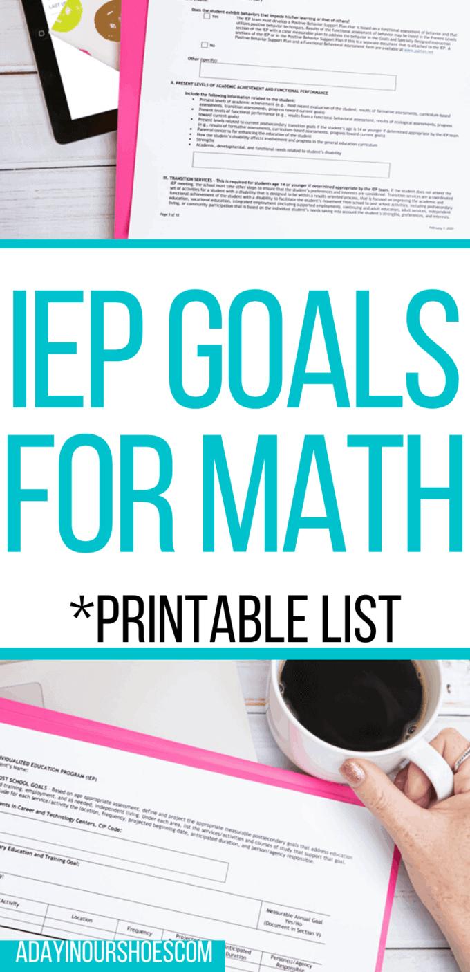 iep goals for math