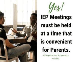 iep meeting times for parents