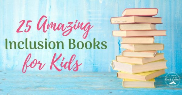 stack of inclusion books for kids