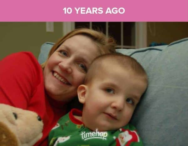 me and kevin on the couch at christmas time