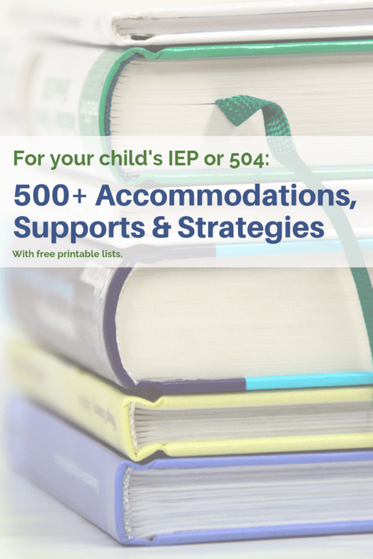 list of accommodations for IEP meeting
