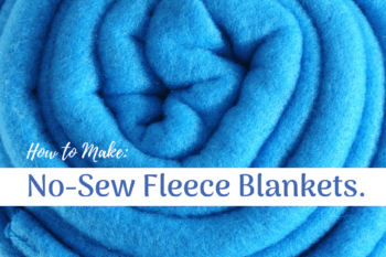 DIY no sew fleece blanket roll-up blue blanket
