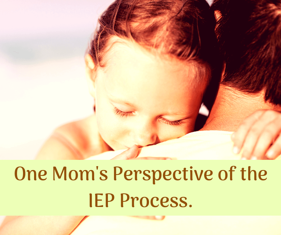 moms perspective of the IEP process child on parents shoulder happy hugging them