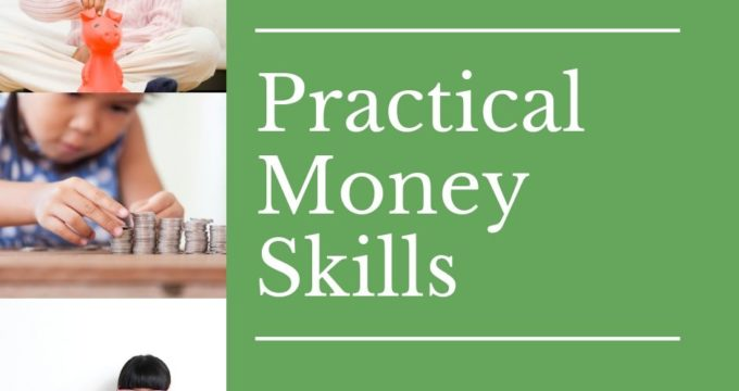 3 girls with money and piggy banks learning practical money skills