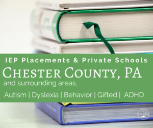 IEP private charter school placement chester county Pennsylvania stack of learning books