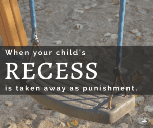 school taking away childs recess punishment empty swing at playground