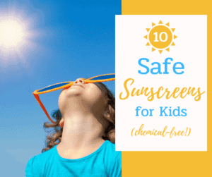 young girl wearing safe sunscreen for kids and sunglasses