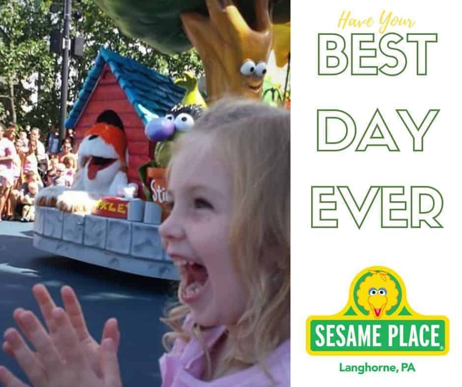 girl enjoying the parade at sesame place