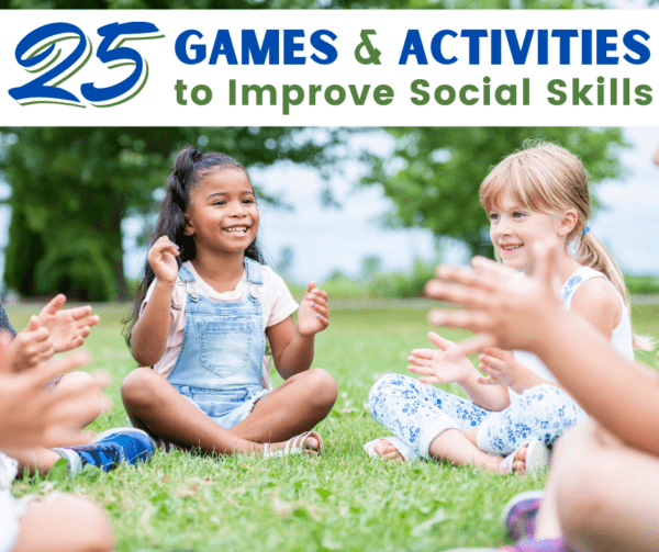 two girls playing a game that will improve their social skills