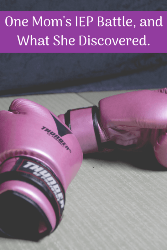 moms IEP battle story and what she discovered pink boxing gloves on a table