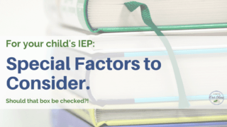 What are the special factors to consider in the IEP?