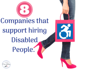 companies that hire disabled people womans legs and hand holding a shopping bag with a wheelchair picture on it