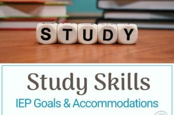 study skills goals and accommodations book stack