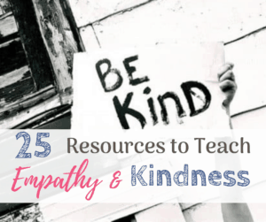 teach empathy kindness holding up a sign that says be kind