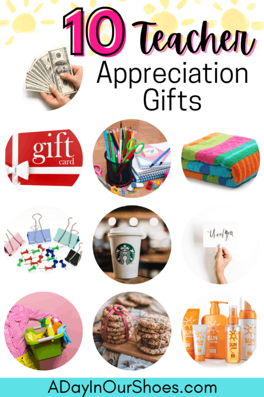collage of teacher appreciation gifts