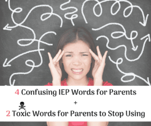 toxic IEP words woman with her fingers on her temples frustrated