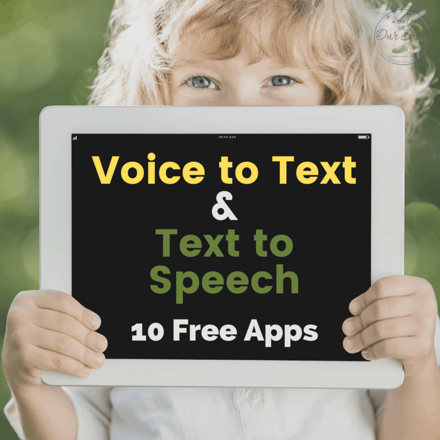 child using voice to text app on a tablet