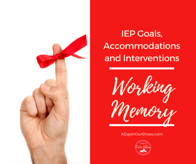 Working Memory | IEP Goals | Interventions | Accommodations